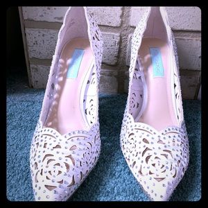 Betsey Johnson white high heels with crystals